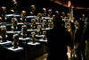 Aug 4, 2012; Canton, OH, USA; Fans look at busts at the Pro Football Hall of Fame before the 2012 enshrinement at Fawcett Stadium. Mandatory Credit: Tim Fuller-US PRESSWIRE