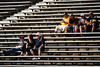 Aug 4, 2012; Canton, OH, USA; Fans await the start of the 2012 Pro Football Hall of Fame Enshrinement at Fawcett Stadium. Mandatory Credit: Tim Fuller-US PRESSWIRE