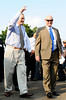 Aug 4, 2012; Canton, OH, USA; Jack Butler (left) and his son John Butler (right) enter Fawcett Stadium before the start of the 2012 Pro Football Hall of Fame Enshrinement. Mandatory Credit: Tim Fuller-US PRESSWIRE