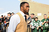 Aug 4, 2012; Canton, OH, USA; Curtis Martin enters Fawcett Stadium at the 2012 Pro Football Hall of Fame Enshrinement. Mandatory Credit: Tim Fuller-US PRESSWIRE