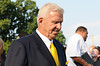 Aug 4, 2012; Canton, OH, USA; Bill Parcells enters Fawcett Stadium before the start of the 2012 Pro Football Hall of Fame Enshrinement. Mandatory Credit: Tim Fuller-US PRESSWIRE