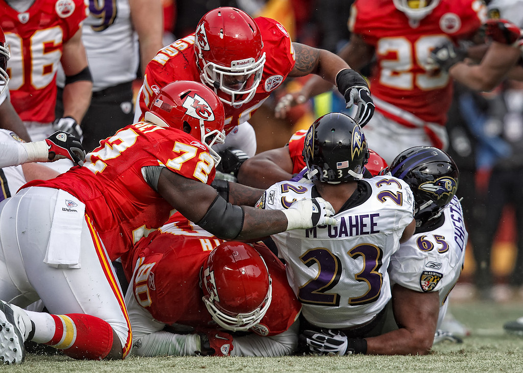 January 9, 2011: Baltimore Ravens running back Willis McGahee (23) his pushed backwards during a Chiefs goal line stand at an AFC Wild Card game where the Baltimore Ravens defeated the Kansas City Chiefs 30-7 at Arrowhead Stadium in Kansas City, Missouri.