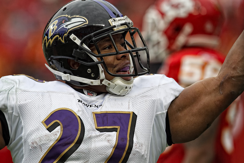 January 9, 2011: Baltimore Ravens running back Ray Rice (27) looks at the crowd after scoring a touchdown in the second quarter of an AFC Wild Card game between the Baltimore Ravens and the Kansas City Chiefs at Arrowhead Stadium in Kansas City, Missouri.