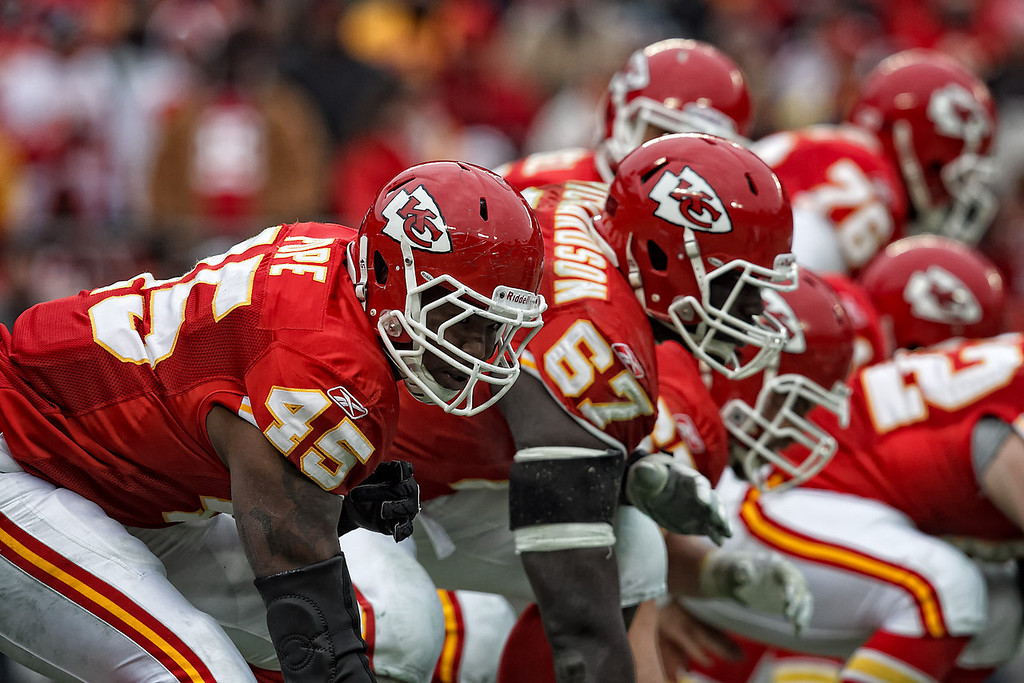 January 9, 2011: Kansas City Chiefs tight end Leonard Pope (45) lines up during an AFC Wild Card game where the Baltimore Ravens defeated the Kansas City Chiefs 30-7 at Arrowhead Stadium in Kansas City, Missouri.