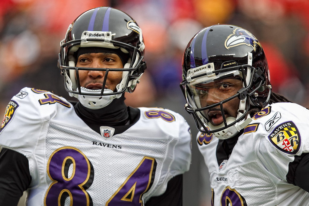 January 9, 2011: Baltimore Ravens wide receivers T.J. Houshmandzadeh (84) and Donte' Stallworth (18) smile before an AFC Wild Card game where the Baltimore Ravens defeated the Kansas City Chiefs 30-7 at Arrowhead Stadium in Kansas City, Missouri.