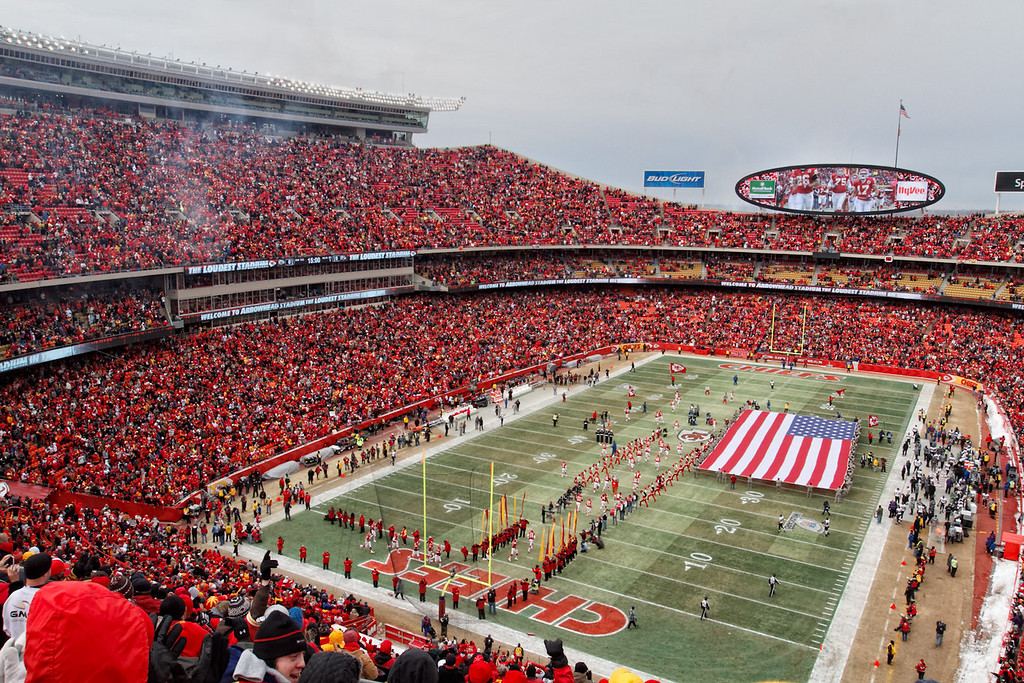 January 9, 2011: Arrowhead Stadium during the national anthem before an AFC Wild Card game between the Baltimore Ravens and the Kansas City Chiefs at Arrowhead Stadium in Kansas City, Missouri.