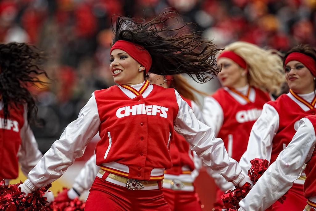 January 9, 2011: The Kansas City Chiefs cheerleaders entertain the crowd during an AFC Wild Card game where the Baltimore Ravens defeated the Kansas City Chiefs 30-7 at Arrowhead Stadium in Kansas City, Missouri.