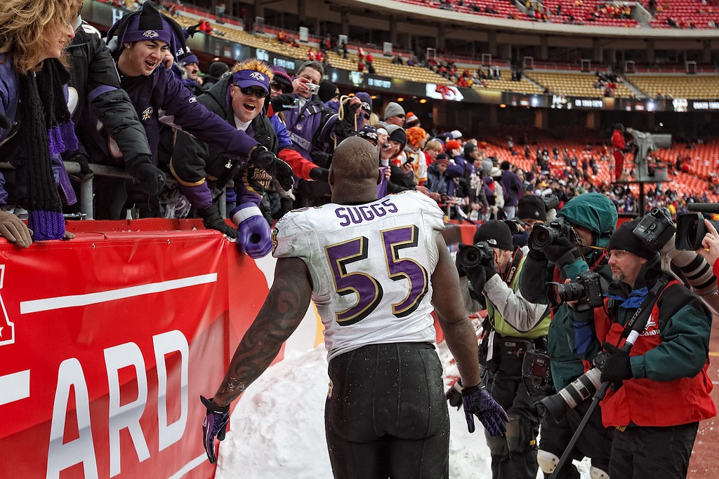January 9, 2011: Baltimore Ravens linebacker Terrell Suggs (55) interacts with fans after an AFC Wild Card game where the Baltimore Ravens defeated the Kansas City Chiefs 30-7 at Arrowhead Stadium in Kansas City, Missouri.
