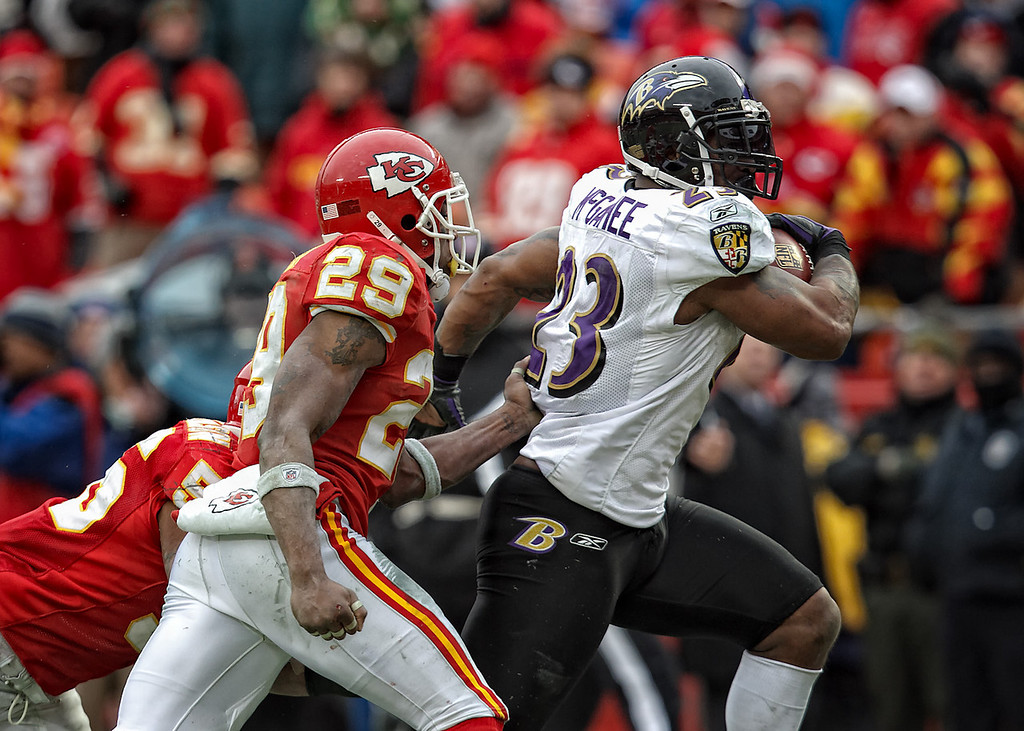 January 9, 2011: Baltimore Ravens running back Willis McGahee (23) breaks free for a 25 yard touchdown run during the fourth quarter of an AFC Wild Card game where the Baltimore Ravens defeated the Kansas City Chiefs 30-7 at Arrowhead Stadium in Kansas City, Missouri.