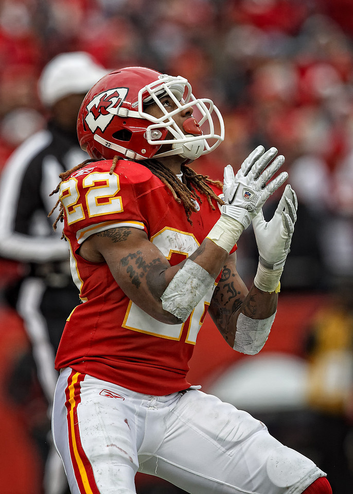 January 9, 2011: Kansas City Chiefs wide receiver Dexter McCluster (22) receives a kickoff during an AFC Wild Card game where the Baltimore Ravens defeated the Kansas City Chiefs 30-7 at Arrowhead Stadium in Kansas City, Missouri.