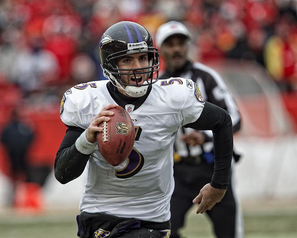 January 9, 2011: Baltimore Ravens quarterback Joe Flacco (5) runs with the ball during an AFC Wild Card game between the Baltimore Ravens and the Kansas City Chiefs at Arrowhead Stadium in Kansas City, Missouri.