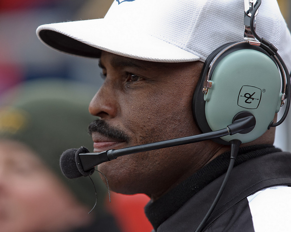 January 9, 2011: Referee Mike Carey wears the headset during a challenge at an AFC Wild Card game between the Baltimore Ravens and the Kansas City Chiefs at Arrowhead Stadium in Kansas City, Missouri.