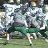 The Nashoba defense jars the ball loose from the hands of Clinton's Patrick Flaherty in the first half. Nashoba won the contest, 21-0, in Bolton on Thanksgiving Day, Thursday, Nov. 22, 2018. Sentinel & Enterprise/Ed Niser