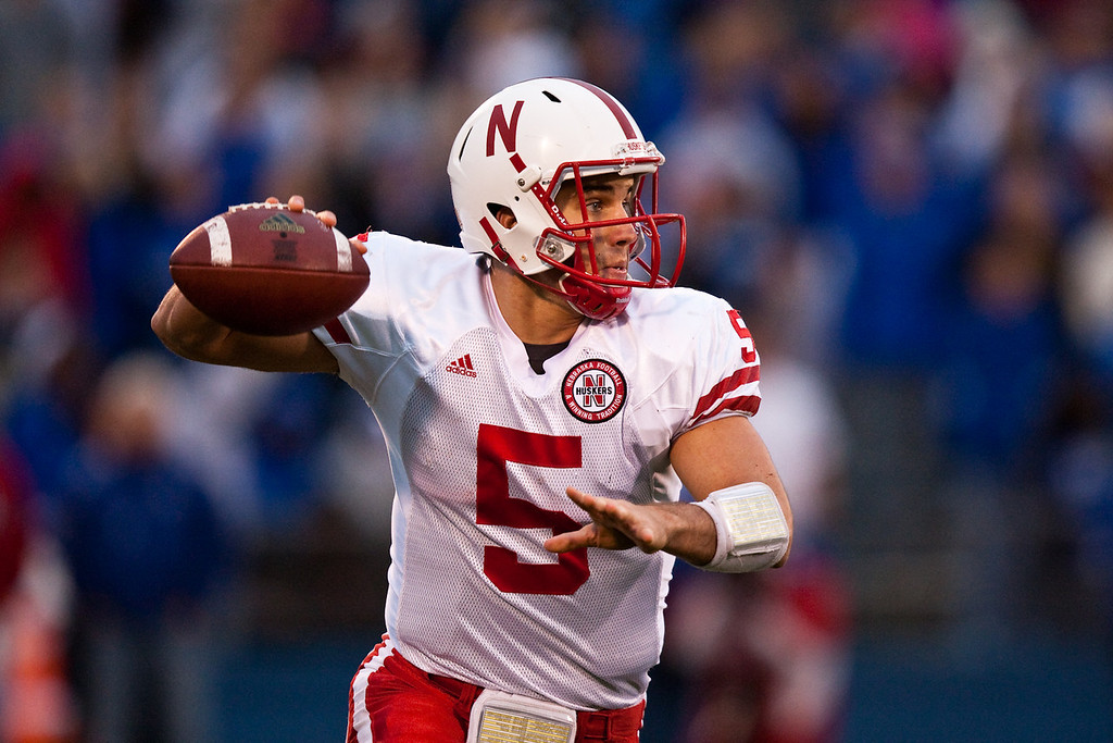 14 November 2009: Nebraska quarterback Zac Lee (5) prepares to throw during the Nebraska Cornhuskers 31-17 win over the Kansas Jayhawks at Memorial Stadium in Lawrence, Kansas.