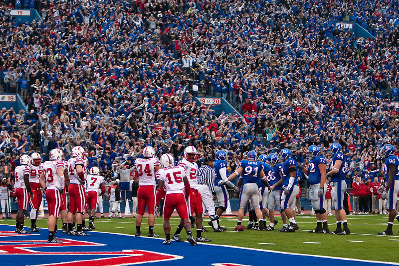 14 November 2009: Fans wave their arms after a Kansas touchdown during the Nebraska Cornhuskers 31-17 win over the Kansas Jayhawks at Memorial Stadium in Lawrence, Kansas.