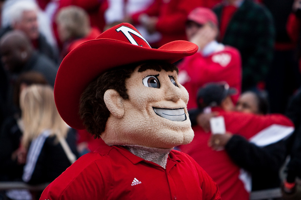 14 November 2009: The Nebraska mascot entertains the crowd during the Nebraska Cornhuskers 31-17 win over the Kansas Jayhawks at Memorial Stadium in Lawrence, Kansas.