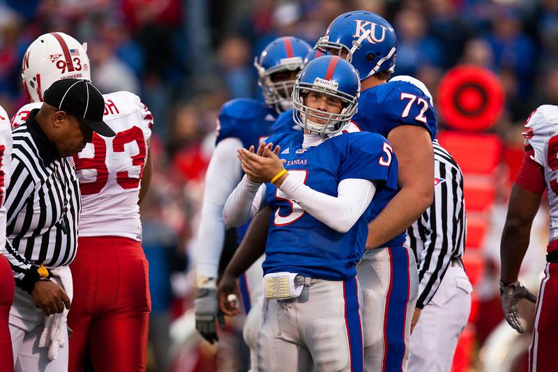 14 November 2009: Kansas quarterback Todd Reesing (5) looks to the sideline during the Nebraska Cornhuskers 31-17 win over the Kansas Jayhawks at Memorial Stadium in Lawrence, Kansas.
