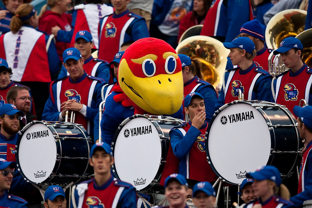 14 November 2009: The Jayhawk mascot walks through the band during the Nebraska Cornhuskers 31-17 win over the Kansas Jayhawks at Memorial Stadium in Lawrence, Kansas.
