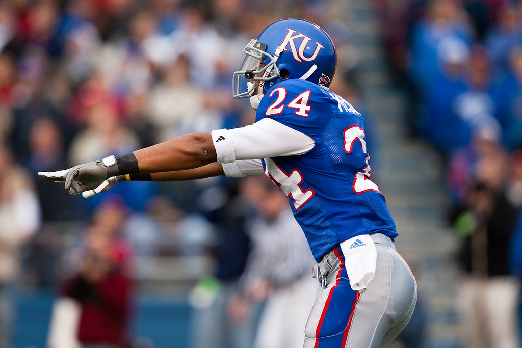 14 November 2009: Kansas wide receiver Bradley McDougald (24) during the Nebraska Cornhuskers 31-17 win over the Kansas Jayhawks at Memorial Stadium in Lawrence, Kansas.
