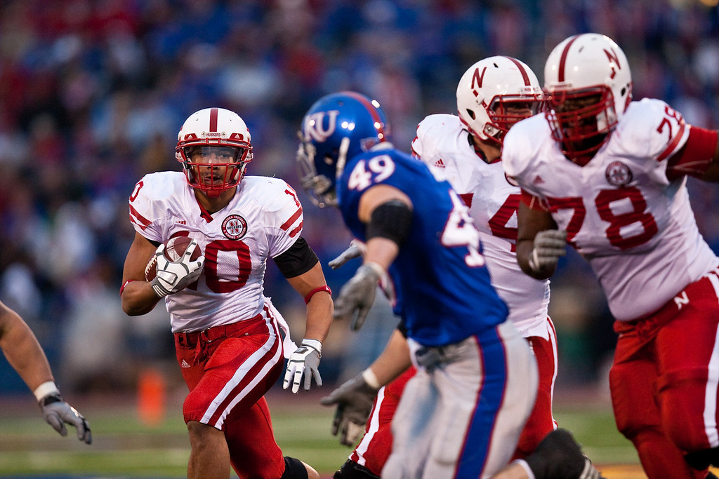 14 November 2009: Nebraska running back Roy Helu Jr. (10) carries the ball during the Nebraska Cornhuskers 31-17 win over the Kansas Jayhawks at Memorial Stadium in Lawrence, Kansas.
