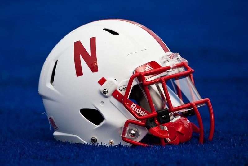 14 November 2009: A Nebraska helmet rests on the end zone turf prior to the Nebraska Cornhuskers 31-17 win over the Kansas Jayhawks at Memorial Stadium in Lawrence, Kansas.