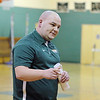 New head fooball coach for Oakmont Regional High School Charlie Raff talks to next years prospective football players on Friday at the school. SENTINEL & ENTERPRISE/JOHN LOVE