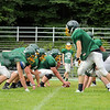 Oakmont football players line up for a play during practice on Thursday morning. SENTINEL & ENTERPRISE/JOHN LOVE