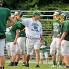 Oakmont's offensive coordinator Paul DiGeronimo instructs players on how they did during the last play during practice on Thursday morning. SENTINEL & ENTERPRISE/JOHN LOVE