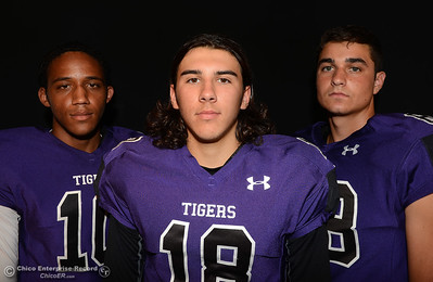 Oroville Tigers footballers left to right, Jacob Harrigan, Colton Roger and Hunter Monnot at a studio photo shoot Saturday, Aug. 13, 2016, at the Enterprise-Record in Chico, California. (Dan Reidel -- Enterprise-Record)