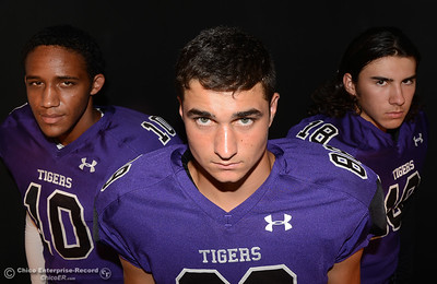 Oroville Tigers footballers left to right, Jacob Harrigan, Hunter Monnot and Colton Roger at a studio photo shoot Saturday, Aug. 13, 2016, at the Enterprise-Record in Chico, California. (Dan Reidel -- Enterprise-Record)