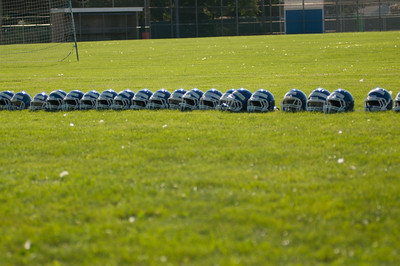 Helmets lined up at practice