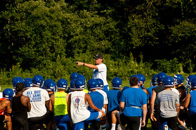 Coach Farrell talks to the team at the start of practice