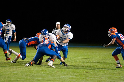 Plainville runs the ball during their game against Bloomfield Friday night