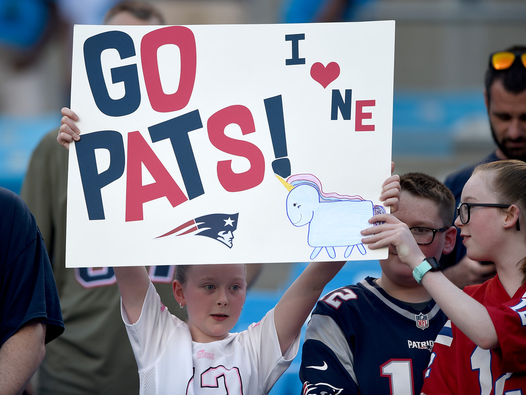. New England Patriots fans cheers their team before a preseason NFL football game against the Carolina Panthers in Charlotte, N.C., Friday, Aug. 24, 2018. (AP Photo/Mike McCarn)