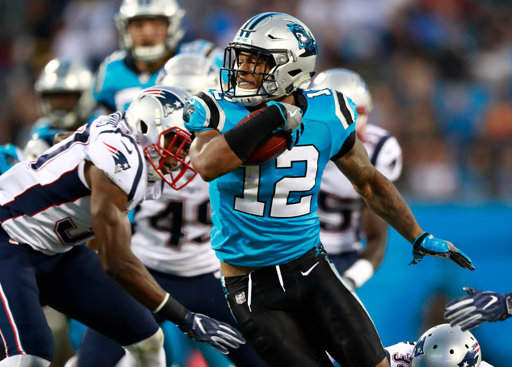 . Carolina Panthers\' Cam Newton (1) looks to pass against the New England Patriots during the first half of a preseason NFL football game in Charlotte, N.C., Friday, Aug. 24, 2018. (AP Photo/Jason E. Miczek)