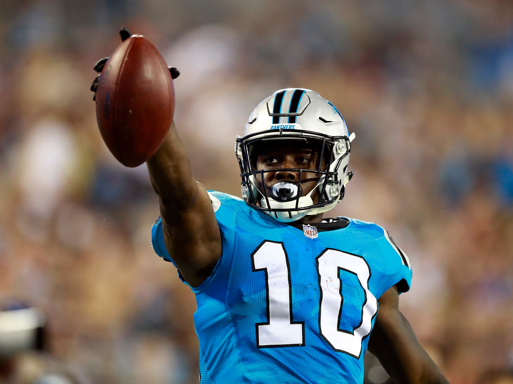 . Carolina Panthers\' Curtis Samuel (10) celebrates a catch against the New England Patriots during the second half of a preseason NFL football game in Charlotte, N.C., Friday, Aug. 24, 2018. (AP Photo/Jason E. Miczek)