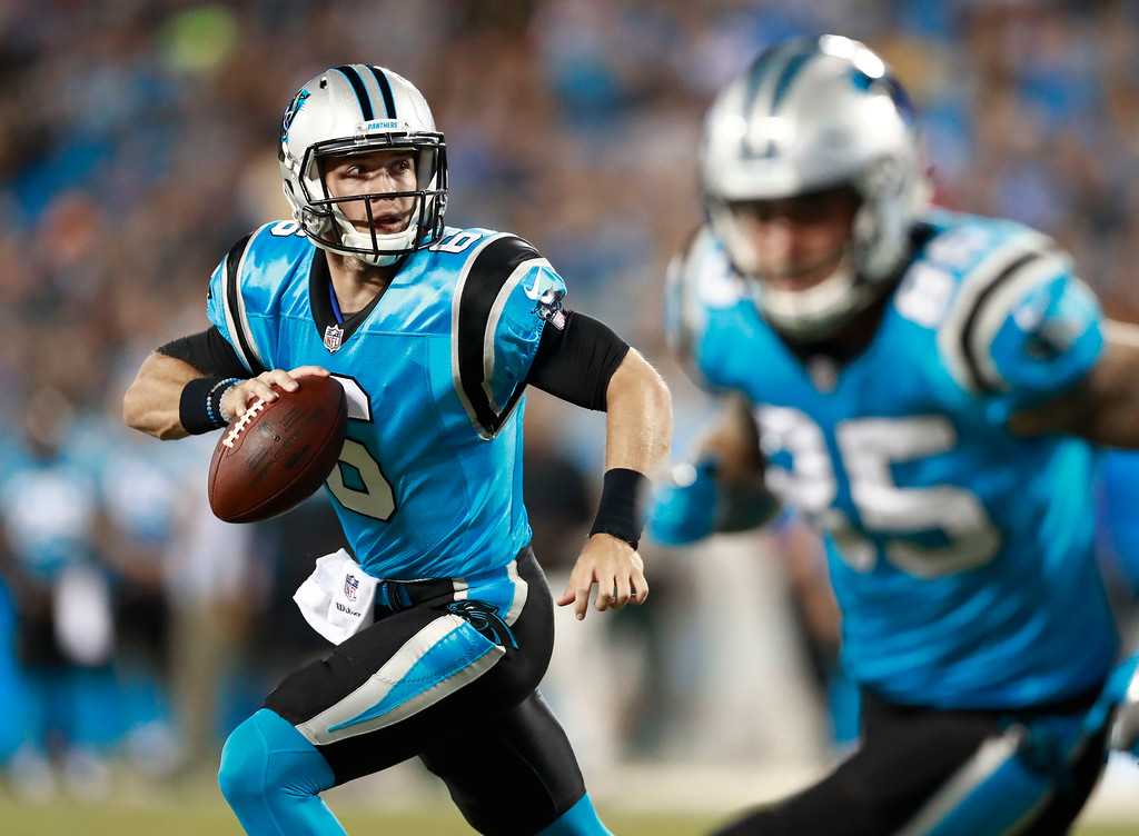 . Carolina Panthers\' Taylor Heinicke (6) scrambles for a touchdown against the New England Patriots during the second half of a preseason NFL football game in Charlotte, N.C., Friday, Aug. 24, 2018. (AP Photo/Jason E. Miczek)