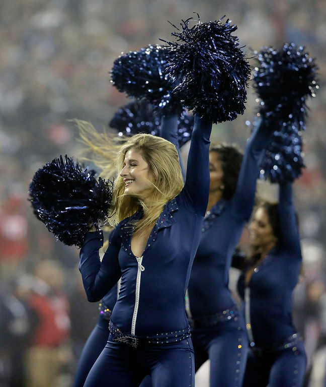 . New England Patriots cheerleaders perform during the first half of an NFL football game between the Patriots and the Atlanta Falcons, Sunday, Oct. 22, 2017, in Foxborough, Mass. (AP Photo/Steven Senne)