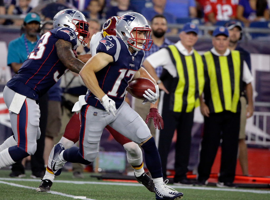 . New England Patriots wide receiver Riley McCarron runs with the ball during the first half of a preseason NFL football game against the Washington Redskins, Thursday, Aug. 9, 2018, in Foxborough, Mass. (AP Photo/Steven Senne)
