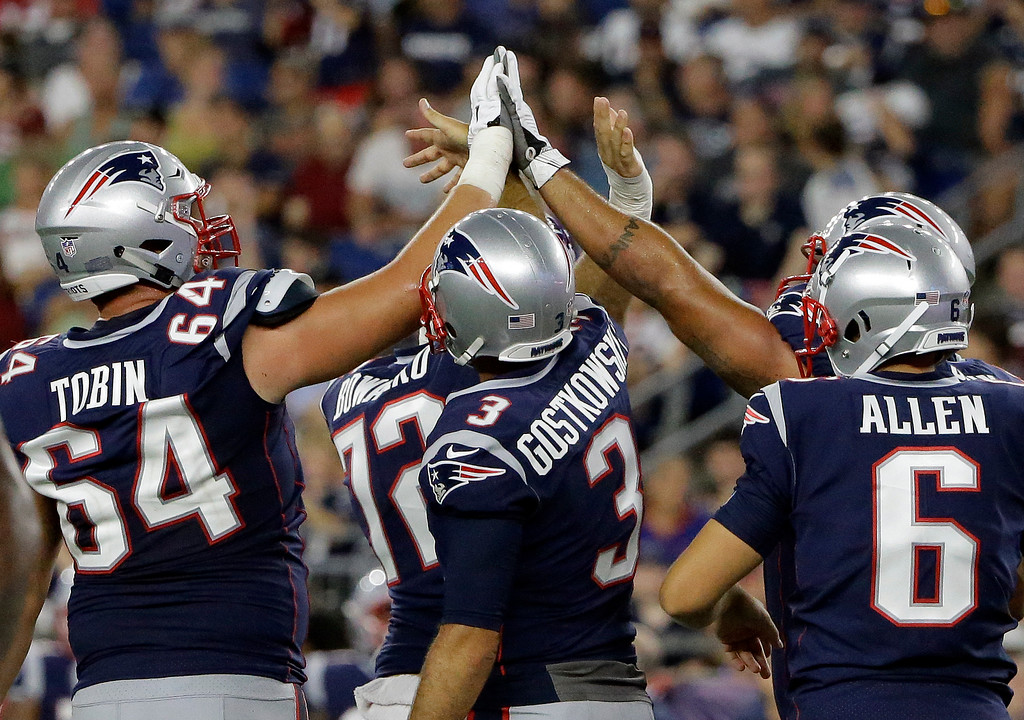 . New England Patriots kicker Stephen Gostkowski (3) celebrates his extra point with teammates during the second half of a preseason NFL football game, Thursday, Aug. 9, 2018, in Foxborough, Mass. (AP Photo/Steven Senne)