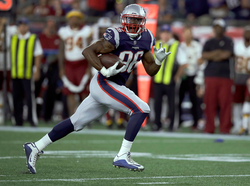 . New England Patriots linebacker Geneo Grissom runs after recovering a fumble by the Washington Redskins during the second half of a preseason NFL football game, Thursday, Aug. 9, 2018, in Foxborough, Mass. (AP Photo/Charles Krupa)