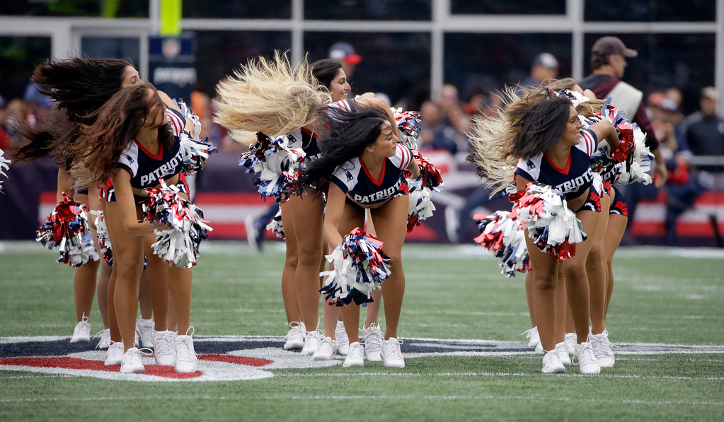. New England Patriots cheerleaders perform before an NFL football game between the Patriots and the Houston Texans, Sunday, Sept. 9, 2018, in Foxborough, Mass. (AP Photo/Steven Senne)