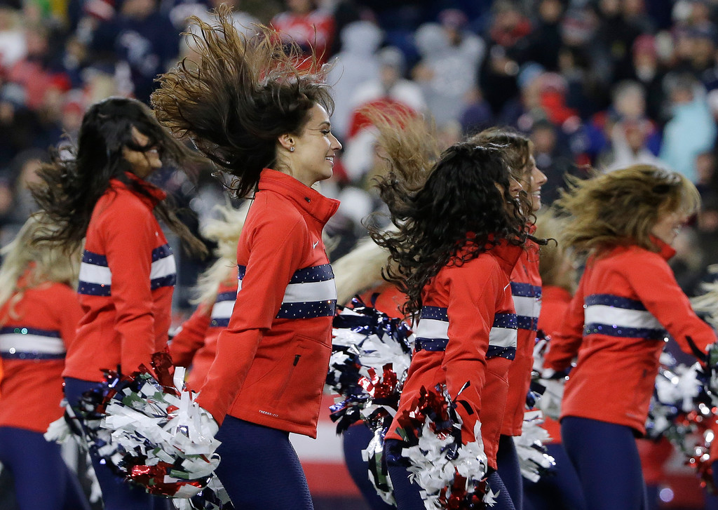 . New England Patriots cheerleaders perform during the second half of an NFL football game between the Patriots and the Green Bay Packers, Sunday, Nov. 4, 2018, in Foxborough, Mass. (AP Photo/Steven Senne)