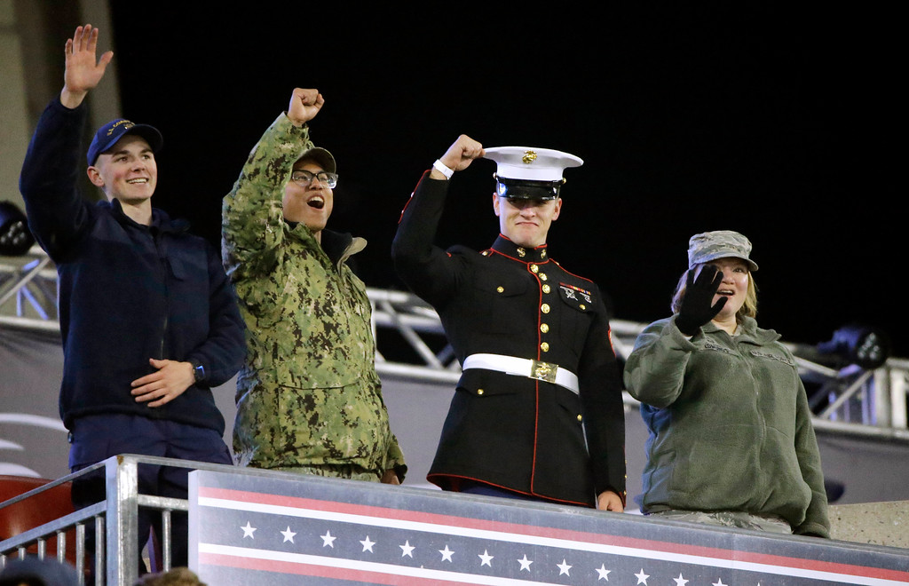 . Member of the United States military are honored during the second half of an NFL football game between the New England Patriots and the Green Bay Packers, Sunday, Nov. 4, 2018, in Foxborough, Mass. (AP Photo/Steven Senne)