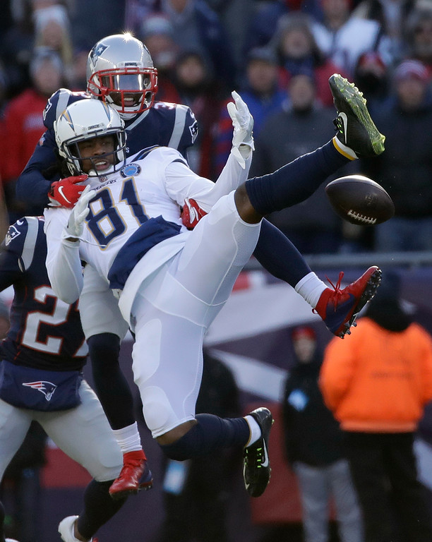. New England Patriots defensive back Devin McCourty, rear, breaks up a pass intended for Los Angeles Chargers wide receiver Mike Williams during the first half of an NFL divisional playoff football game, Sunday, Jan. 13, 2019, in Foxborough, Mass. (AP Photo/Elise Amendola)