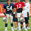 Hall of Fame duo: Tedy Brushi, #54; Tom Brady, #12