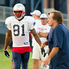 Randy Moss, #81; head coach Bill Belichick