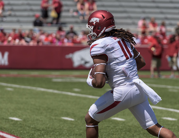 Will Gragg, Freshman Tight End from Dumas, Arkansas, warms up during the pre-game practice prior to the Arkansas Red-White Spring Football Game on Saturday, April 25, 2015 in Fayetteville, Arkansas at Donald W. Reynolds Razorback Stadium.  The Red team won 62-18 in front of an official attendance of 41,220 fans.   (Alan Jamison, Nate Allen Sports Service)