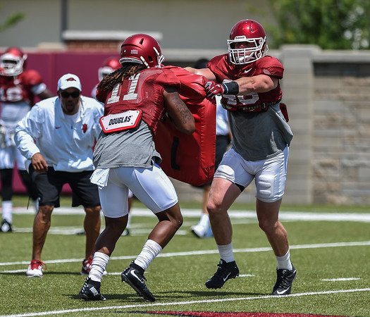 Tight end Will Gragg (11) with tight end Alex Voelzke (46) at Razorback Football practice on Saturday, August 8, 2015 at the Fred W. Smith Football Center in Fayetteville, Arkansas.   (Alan Jamison, Nate Allen Sports Service).