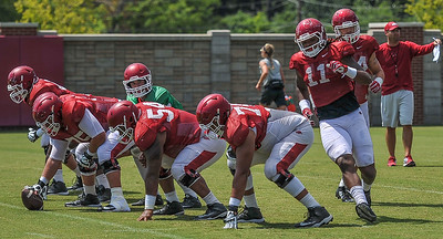 Will Gragg in motion during a play at the Razorback Football practice on Thursday, August 13, 2015 at the Fred W. Smith Football Center in Fayetteville, Arkansas.   (Alan Jamison, Nate Allen Sports Service).